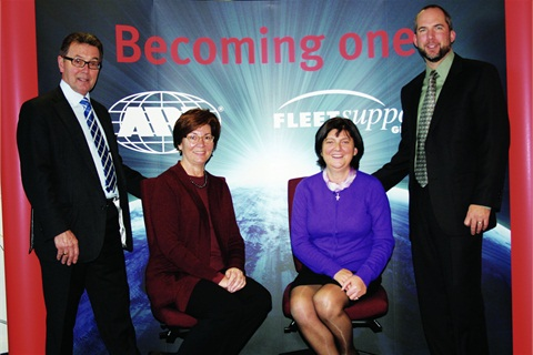 """Becoming One"" was the theme of the announcement of ARI's acquisition of Fleet Support Group.  Pictured  with founders of FSG Geoffrey Bray (left) and Ina Bray (3rd from left) are Kathy Mullin, VP and general counsel of Holman Automotive, and Brian Bates, senior VP, finance and CFO of ARI."