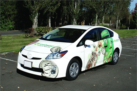 One of Coinstar's Toyota Prius vehicles.