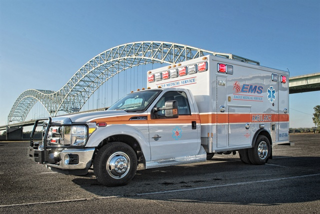 Eagle Medical, which estimates a telematics insurance savings of $20,000-$30,000 this year, has 32 vehicles ranging from Ford F-350s (pictured) to six executive vehicles.
