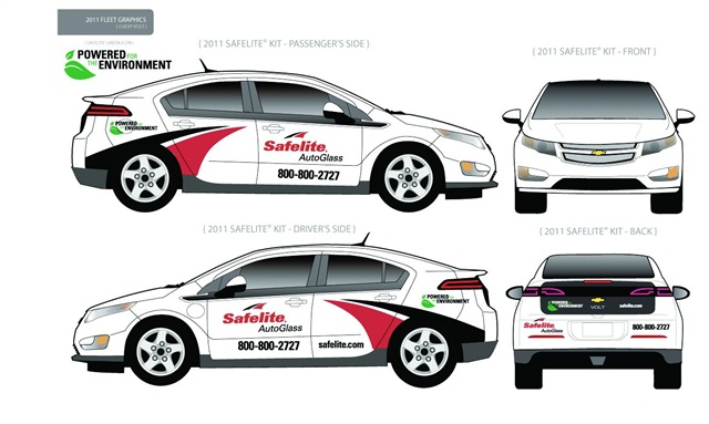 Shown above are different angles of the Chevrolet Volt with the Safelite AutoGlass branding. Safelite AutoGlass tested the Volt in a pilot program in an effort to help reduce fuel consumption.