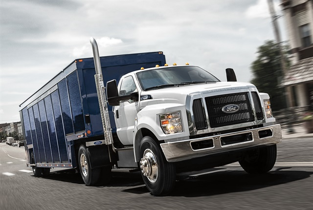 Ford's F-650 and F-750 vocational trucks received Work Truck magazine's 2017 Medium-Duty Truck of the Year award for the second consecutive year at the Work Truck Show. Photo courtesy of Ford.