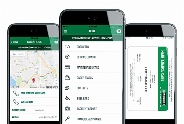"Enterprise Fleet Management launched the newest version of its mobile app in July 2017. ""We're delivering more content to the app that will help engage the driver,"" said Adamson. One example cited is to offer drivers their fleet maintenance cards in the app itself. Photo: Enterprise Fleet Management"