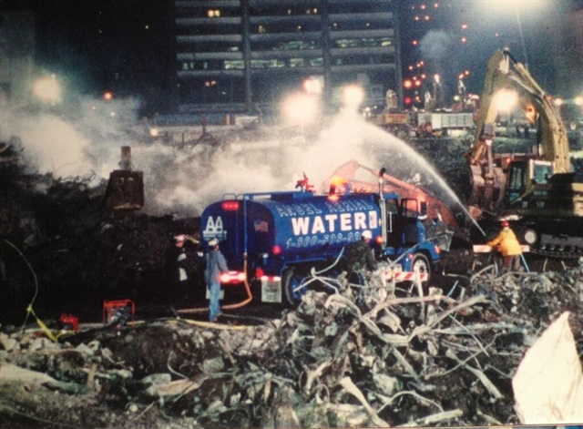 <p><em>Angel Aerial used its water trucks to help with dust suppression after the 9/11 terrorist attacks in New York City. Photo courtesy of Angel Aerial</em></p>