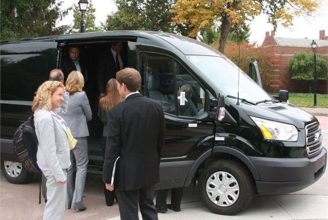 Attendees lined up to get a first look at the new Ford Transit van. Photo courtesy of Ford.