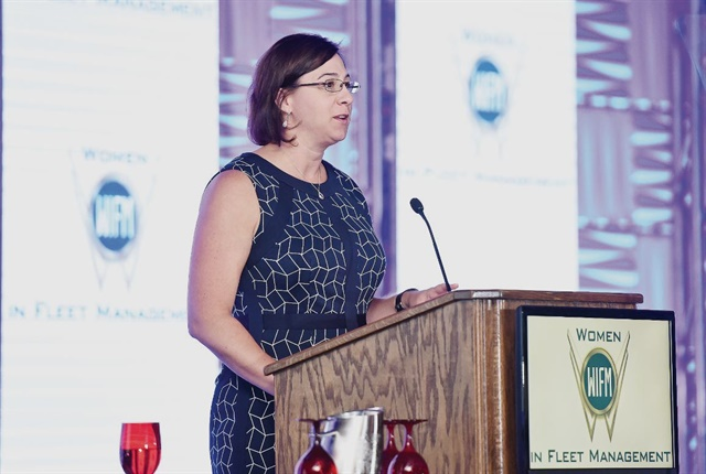 Lori Rasmussen, president and CEO of PARS, Inc. and current WIFM Chair, speaks to attendees at the Automotive Fleet Leasing Association (AFLA) 2017 conference during a Women in Fleet Management session. Photo courtesy of AFLA.