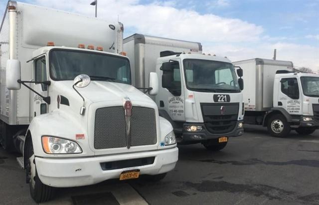<p><em>Angel Aerial's fleet includesKenworth box trucks. Photo by James Miller</em></p>