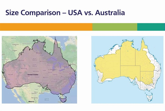 Australia is the sixth largest country in the world. It's about the same size as continental USA as shown in the left-hand chart. Most of Australia's population lives on the coast (the white areas in the right-hand chart). The Australian interior is rich in bauxite, coal, iron ore, copper, tin, gold, silver, uranium, nickel, tungsten, rare earth elements, mineral sands, lead, zinc, diamonds, natural gas, and petroleum.