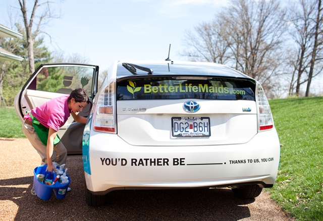 The company has four Toyota Priuses and a Scion xB, in addition to a Prius that is used by the Jacksonville team, where there is a new Better Life Maids franchise.