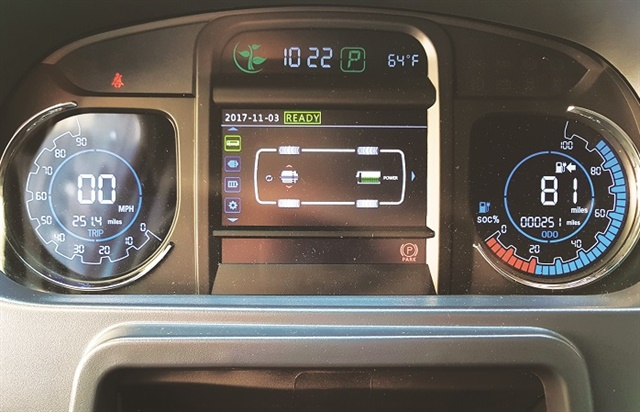 The dash A-panel displays speed and mileage info as well as state-of-charge and estimated remaining miles. Drivers can navigate through a variety of system screens, including one that shows energy transfer from the motor to the wheels and vice versa when regenerative braking occurs.