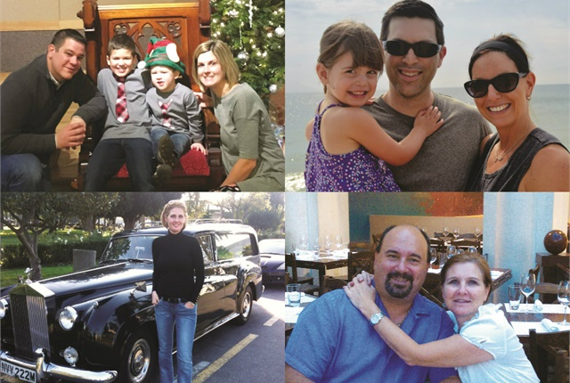 Clockwise from top left: Brian Wielgosz of Sanofi with his family; Dave Tosh of Benco Dental with his wife and daughter; Clay Gaudet of AutoZone with his wife; and Lee Pierce of Weatherford posing with a Rolls-Royce hearse.