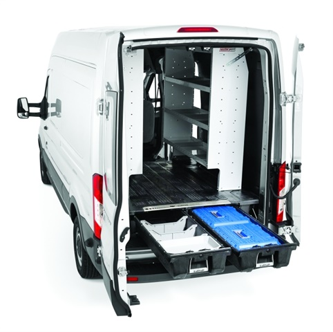 Compatible with vertical van racking systems, the DECKED van cargo storage system helps drivers stayorganized while on the road. (Photo: DECKED)