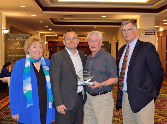 ACRA Executive Director Sharon Faulkner, far left, Auto Rental News Executive Editor Chris Brown, left, Impact Award winner Bobby Klyce, center, and Avis Budget Car Rental VP of Government Affairs Robert Muhs, right, after Klyce recieved his award at the 2018 International Car Rental Show in Las Vegas. Photo: Martine Rouzan