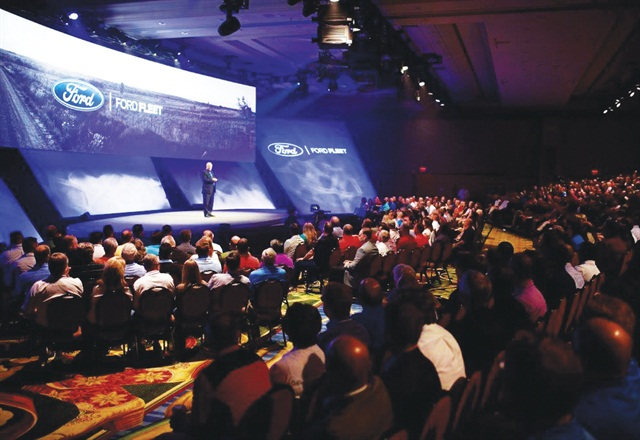Attendees being briefed the automaker's 2016 product lineup. Photo courtesy of Ford.