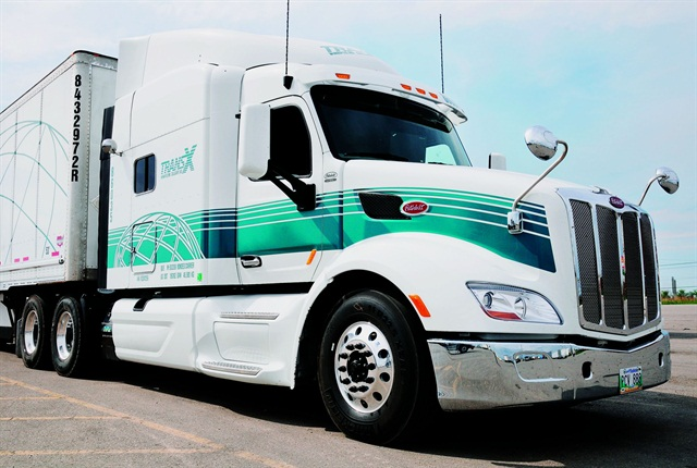 The brand-new Peterbilt Model 579 loaned to us by TransX Ltd. had less than 40 miles on the clock. The SmartAdvantage powertrain makes it a very nice place to work.  Photo: Jim Park