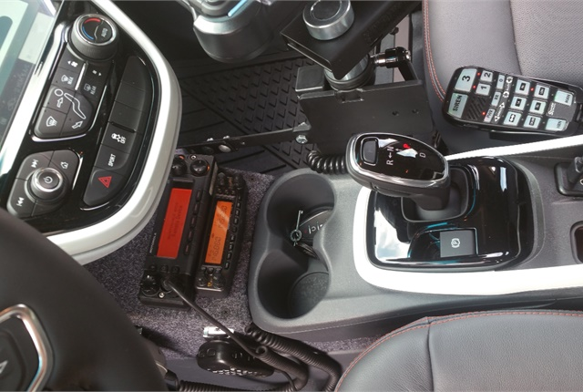 Upfitters custom-built a center console to hold a two-way radio. Photo courtesy of Hyattsville Police Department