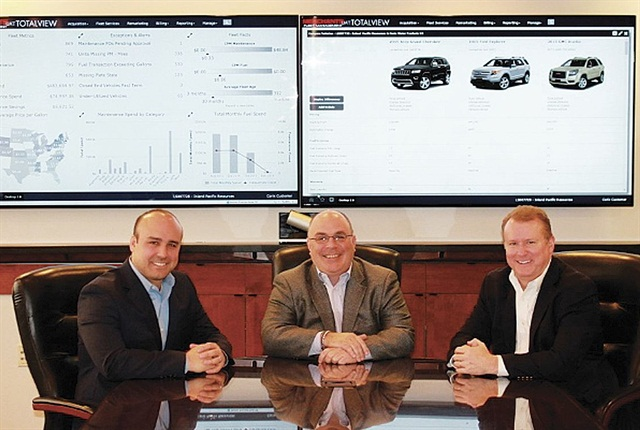 (L-R) Brad Jacobs, director of strategic consulting; Dan Hannan, executive director of strategic consulting; and Ken Kauppila, chief information officer, are the Merchants Fleet Management leadership responsible for developing and implementing the new TotalView solution. The system aggregates fleet data into convenient, personalized dashboards defined according to an individual fleet's mission and reporting needs. Photo courtesy of Merchants.