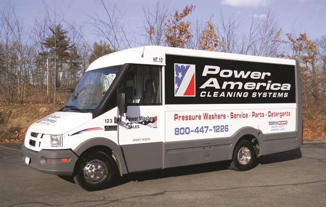 Photos courtesy of Power Washer Sales.This fleet modified Reach vans with a winch to aid loading, as well as e-track in the box to secure the equipment, and a file cabinet for parts storage and desk space.