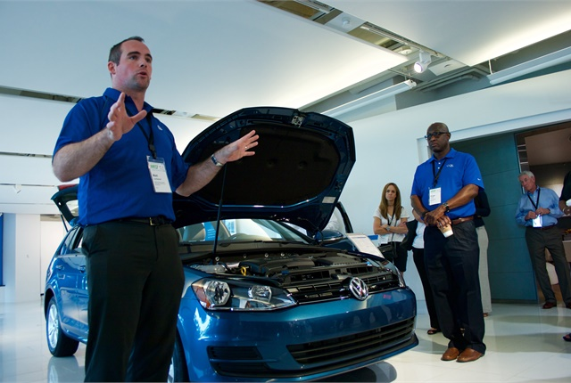 A walkaround product demonstration was given to fleet attendees of the all-new 2017 Golf SportWagen 4Motion. Photo courtesy of VW.