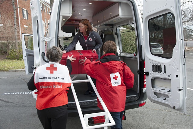 One of the ERV's features allows volunteers to more easily load cargo into the vehicle. Photo courtesy American Red Cross.