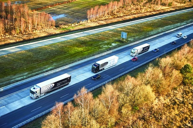 pstrongVehicle-to-vehicle technology, such as that used in Daimler's recent demonstration of autonomous platooning technology in Europe, will further enhance high-tech safety systems./strong emPhoto: Daimler Trucks/em/p
