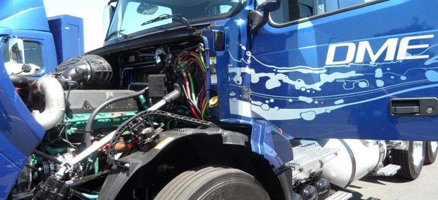 DME engine is based on Volvo D13 diesel. This prototype has common-rail fuel injection, which production engine might or might not use. In the background you can see the back of a cab set up for CNG, with the cabinet behind the cab housing four high-pressure tanks. Volvo remains committed to natural gas for customers who want to use it. (Photos by Tom Berg)