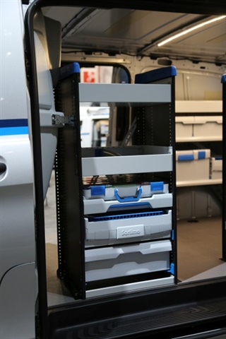 Vans can be configured to have wide Shelf Staxx at the curbside door for quick access to frequently needed items. (Photo: Sortimo)