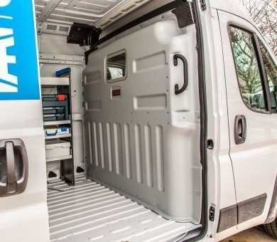 Protexx van partitions are durable yet lightweight, constructed of an ABS thermoformed material to provide protection yet minimally impact payload. (Photo: Knapheide)