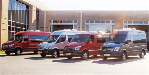 Sprinter models are showcased at Mercedes-Benz's van reassembly plant in Ladson, S.C. Photo by Adam Pringle