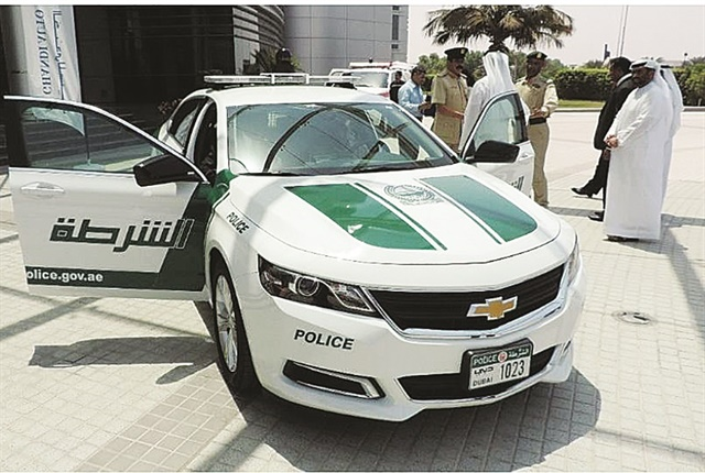 The Dubai police vehicles are painted with a white and dark green color scheme, with all blue emergency lights. The Dubai police force purchases Chevrolet, Toyota, Mazda, and Nissan models used for general duties and patrol vehicles. Photo: GM
