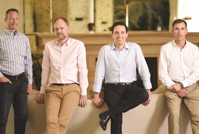 Verizon Connect's executive leadership team includes (L–R) Chief Marketing Officer Jay Jaffin, Chief Technology Officer Peter Mitchell, Chief Executive Officer Andrés Irlando, and Senior Vice President of Product Strategy Jason Koch.