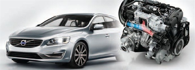 Volvo's new two-liter, four-cylinder engines in the Drive-E powertrain family will be launched in the U.S. in 2015-model year vehicles, including the S60 sedan (pictured), XC60 luxury SUV and V60 wagon.