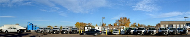 <p>Pictured are Weld County, Colo., natural gas vehicles in front of its CNG fueling station. <em>Photo courtesy of Weld County.</em></p>