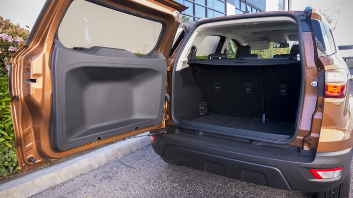 The EcoSport offers 21 cubic feet behind the rear seats accessible by