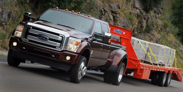 The latest truck maker to claim towing capacity superiority is Ford, which has upped the horsepower and torque of its Power Stroke V-8 diesel to propel an F-450 pickup and a trailer as heavy as 31,200 pounds.