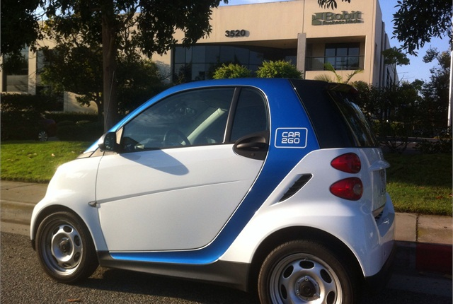 A car2go smart car is often stationed in the Torrance, Calif. office park that includes the offices Bobit Business Media, the publisher of Auto Rental News.