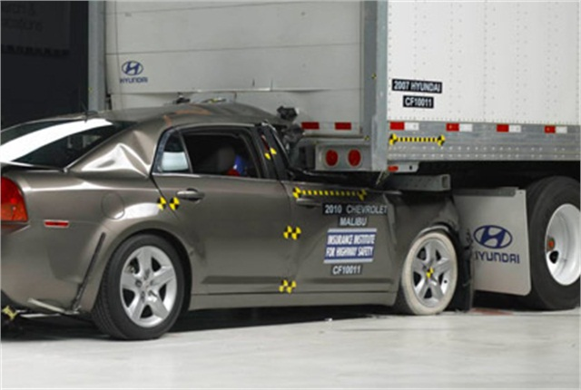 When the Insurance Institute for Highway Safety tested underride guards in 2010, one guard failed. That trailer manufacturer has since redesigned its guards, and it worked properly in the IIHS' latest round of tests.