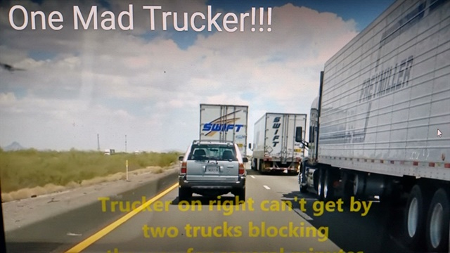 Share the Road? Two rigs side by side prevent following traffic from passing. The trucker in the foreground decides to solve the problem. Images: screen captures from YouTube
