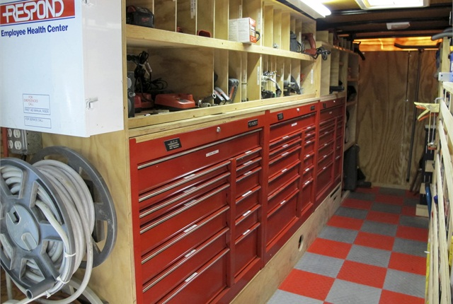 Paulk custom-built his shelving around two common rolling toolboxes, mounted without wheels.