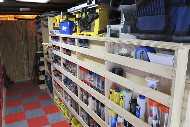 """The shelves are built for maximum visibility and accessibility of tools and equipment. With a 3/4"""" inch lip shelf, """"No matter what bump I go over I've never had a tool fall out,"""" Paulk says."""