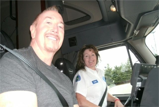 pstrongTruck safety advocate Ron Wood rides with veteran Walmart driver Carol Nixon./strong emPhoto courtesy Women in Trucking./em/p