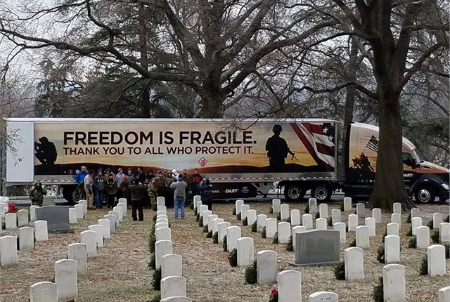 <p><strong>Trucks brought them: Dart Transit had special graphics honoring military people placed on three trailers and tractors for this year's haul of wreaths to military cemeteries. </strong><em>Photos: Wreaths Across America</em></p>