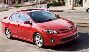 At about 104 interior cubic feet, the Toyota Corolla is considered a compact.
