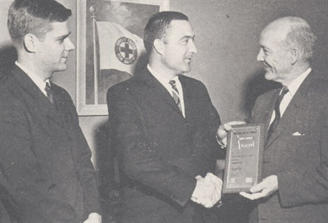<p>Roy Wiley (left) and Ed Bobit (center) received an award from the National Safety Council for editorial coverage on fleet safety.</p>