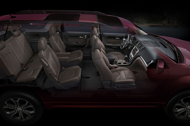 This cutaway shows the seating arrangement and the materials available in the Acadia.