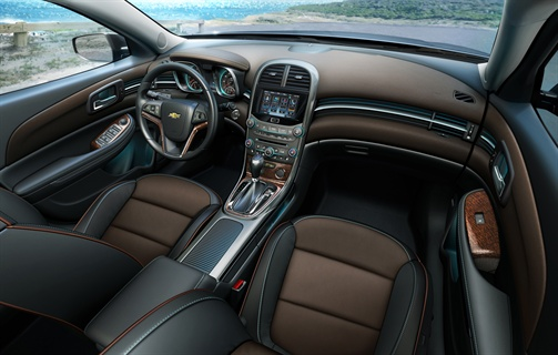 This is the interior of the 2013-MY Chevrolet Malibu LTZ.