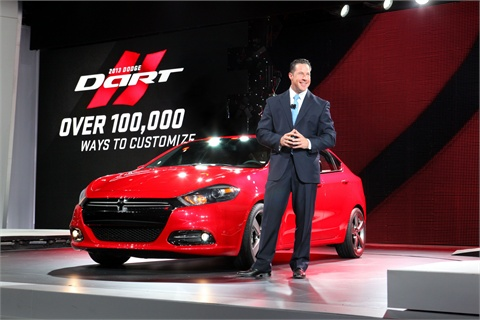 Dodge Brand President and CEO Reid Bigland introduces the new 2013 Dodge Dart at the 2012 North American International Auto Show in Detroit.