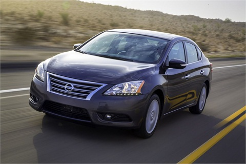 The 2013-MY Nissan Sentra features the automaker's new grille and a restyled exterior.