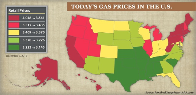 AAA provided this chart which shows gas prices on a regional basis across the U.S.