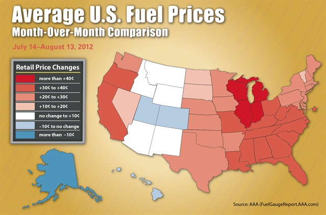 The chart above details gas price differences on a regional basis between July 14 and August 13, 2012.Source: AAA