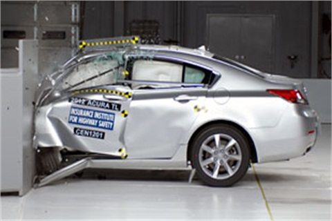"The 2012 Acura TL drew the top rating of ""good"" in the new IIHS small overlap frontal crash test."